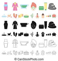 sieć, salon, komplet, illustration., ikony, symbol, zbiór, bitmapa, wyposażenie, odpoczynek, złagodzenie, zdrój, design., rysunek, pień