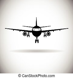 sieć, samolot, samolot, ikona