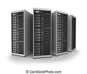 sieć, servery, w, dane centrują