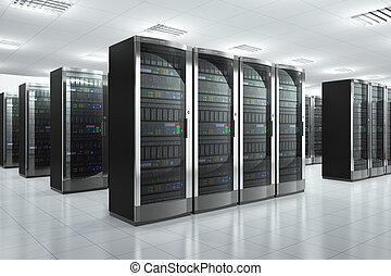 sieć, servery, w, datacenter