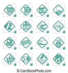 sieć, sklep, ikony, umiejscawiać, stylizowany, e-handel, online
