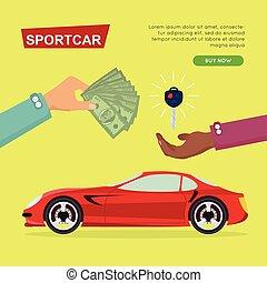 sieć, sportcar, banner., wóz, sale., online., kupno
