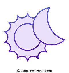 sieć, styl, 10., ikony, nachylenie, słońce, zaćmienie, eps, płaski, księżyc, app., projektowany, słoneczny, fiołek, modny, icon., astronomia, style., projektować