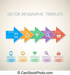 sieć, szablon, could, strzały, wektor, infographic, układ, ikony