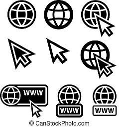 sieć, szeroki, kula, ikony, kursor, świat