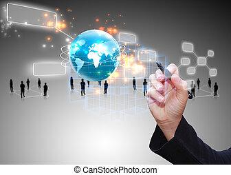 sieć, towarzyski, concept., media