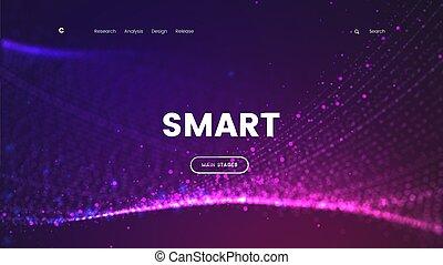 sieć, używany, tło, czuć się, purpurowy, abstrakcyjny, -, lądowanie, handlowy, cząstki, jarzący się, może, szablon, internet, interfejs, mądry, technologia, strona, futurystyczny