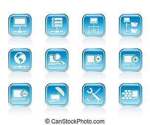 sieć, urządzenie obsługujące, hosting, ikony
