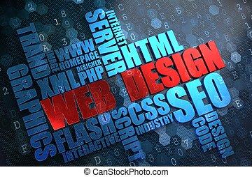 sieć, wordcloud, concept., design.