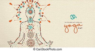 sieć, yoga, lotosowa poza, rozmyślanie, chorągiew, dzień