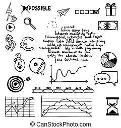 sieć, zaciągnąć, pojęcie, elements., media, symbol, towarzyski, komunikacja, znak, internet, doodles, ręka, handel