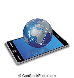 sieć, ziemia, na, mądry, telefon