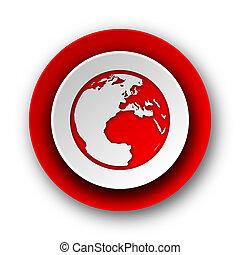sieć, ziemia, tło, nowoczesny, ikona, czerwony biel