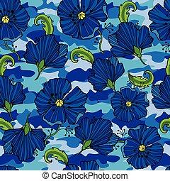sieć, zwrotnik, tropikalne kwiecie, twój, clothing., kamuflaż, seamless, camo, powtarzać, druk, kwiat, wektor, tło., odzież, pattern., illustration., projektować