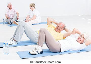 sie, altes , lose, alter, trainieren, zusammen, spaß, gibt