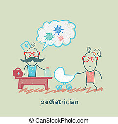 sie, arbeit, kinderarzt, zuhören, mutter, baby stroller