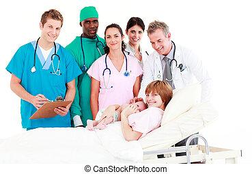 sie, baby, mutter, doktoren, neugeborenes, beachten