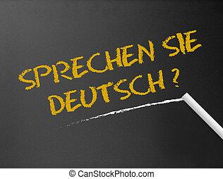 sie, -, deutsch?, chalkboard, sprechen