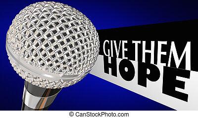 sie, geben, mikrophon, abbildung, publikum, wörter, hoffnung, 3d