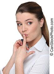 Sie, Geschäftsfrau, Lippen,  finger, Porträt, frech