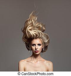 sie, haar, sturm, porträt, head., blond, woman.
