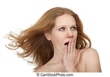 sie, schoenheit, schock, freigestellt, abdeckhauben, hand, haar, mund, erstaunt, hintergrund, fließen mädchen, rgeöffnete, weißes, überrascht