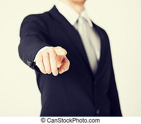 sie, seine, finger, zeigt, mann