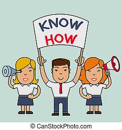 sie, wille, banner, spion, lernen, leute, begrifflich, zuerst, schreibende, zeit, demonstration., geschaeftswelt, hand, ausstellung, wissen, prozess, sachen, glas, text, megaphon, how., foto