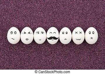 sieben, eier, auf, lila, sand.