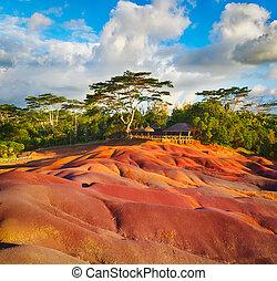 sieben, farbe, earth., mauritius.