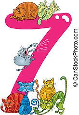 Sieben, Katzen, zahl,  7