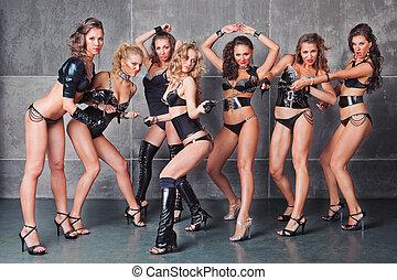 sieben, reizend, go-go, sexy, mädels, in, schwarz, mit,...