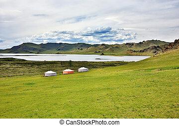 siedlungen, tsagaan, zentral, yurt, mongolia, terkhiin, see