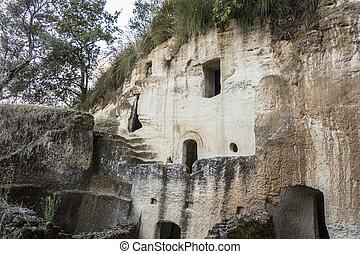 siedlungen, zungri, kalabrien, höhle