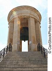 Siege bell memorial in Valletta, Malta. - Front view of the...