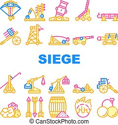 Siege Engine Catapult Collection Icons Set Vector. Ancient Weapon And Cores, Arrow Thrower And Siege Tower, Trebuchet And Hook Destroyer Concept Linear Pictograms. Contour Illustrations
