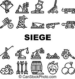 Siege Engine Catapult Collection Icons Set Vector. Ancient Weapon And Cores, Arrow Thrower And Siege Tower, Trebuchet And Hook Destroyer Black Contour Illustrations