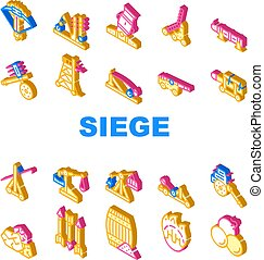 Siege Engine Catapult Collection Icons Set Vector. Ancient Weapon And Cores, Arrow Thrower And Siege Tower, Trebuchet And Hook Destroyer Isometric Sign Color Illustrations