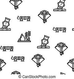 Siege Engine Catapult Vector Seamless Pattern Thin Line Illustration