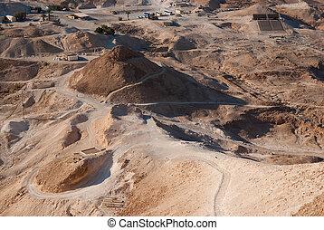 Siege ramp at Masada - Roman siege ramp at Masada fortress,...