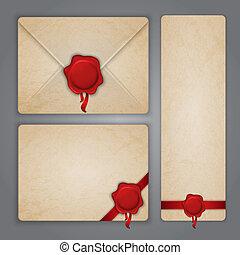 siegel, antikisiert, papier, briefkuvert, wachs