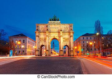 siegestor, sieg, tor, nacht, münchen, deutschland