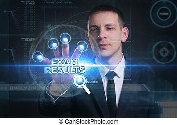 sieht, prüfung, arbeitende , inscription:, concept., ergebnisse, virtuell, junger, zukunft, internet, geschäftsmann, technologie, geschaeftswelt, schirm, vernetzung