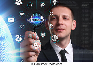 sieht, vernetzung, arbeitende , bekommen, inscription:, concept., ergebnisse, virtuell, junger, zukunft, internet, geschäftsmann, geschaeftswelt, schirm, technologie
