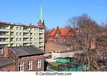 Siemianowice Slaskie city in Poland. Old and new architecture.