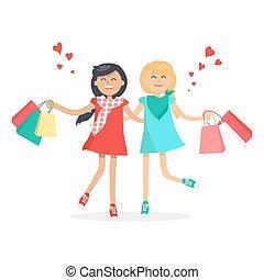siempre, compras, niñas, bags., amigos, feliz