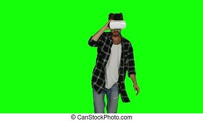 sien, écran, masque, vr, vert, eyes., homme