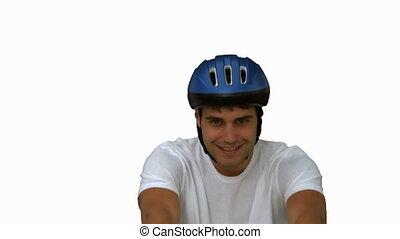 sien, écran, vélo, homme, blanc