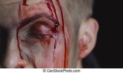 sien, égouttement, maquillage, effrayant, type, portrait., face., homme, halloween, sanguine