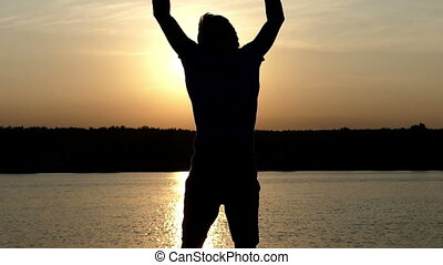sien, énergique, mouvements, bol, hautement, en avant!, main, homme